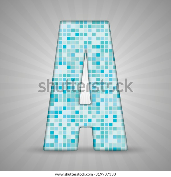 Vector illustration of letter A made of square blue mosaic. Vector alphabet, type, font with latin letters. Ornament with squares tiles for your floor, wall, bathroom, pool.