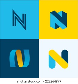 Vector illustration letter n set