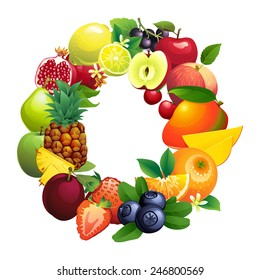 Vector illustration Letter O composed of different fruits with leaves