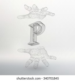 Vector illustration of letter P and hand of lines. Fonts of Mesh polygonal. The structural grid of polygons. Abstract Creative concept vector background. Polygonal design style letterhead and brochure