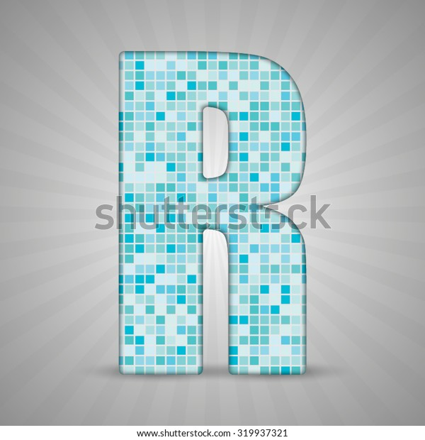Vector illustration of letter R made of square blue mosaic. Vector alphabet, type, font with latin letters. Ornament with squares tiles for your floor, wall, bathroom, pool.