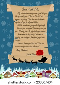 Vector illustration of a letter from Santa Claus on blue