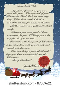 Vector illustration of a letter from Santa Claus