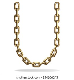 Vector Illustration of a letter U from a gold chain on a white background