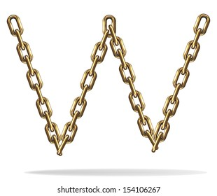 Vector Illustration of a letter W from a gold chain on a white background