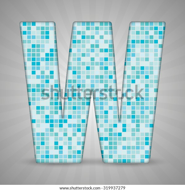 Vector illustration of letter W made of square blue mosaic. Vector alphabet, type, font with latin letters. Ornament with squares tiles for your floor, wall, bathroom, pool.