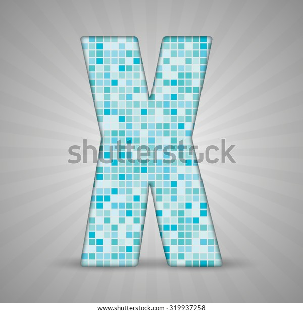 Vector illustration of letter X made of square blue mosaic. Vector alphabet, type, font with latin letters. Ornament with squares tiles for your floor, wall, bathroom, pool.