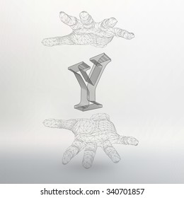 Vector illustration of letter Y and hand of lines. Fonts of Mesh polygonal. The structural grid of polygons. Abstract Creative concept vector background. Polygonal design style letterhead and brochure