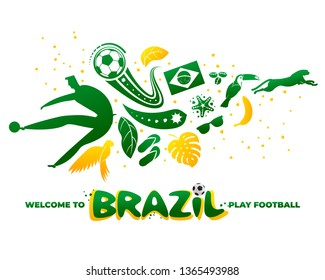 Vector illustration with lettering Brazil 2019. World of Brasil pattern with modern and traditional elements. 2019 trend. Championship Conmeball Copa America 2019 in Brazil.
