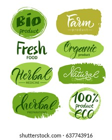 Vector illustration. Lettering. Calligraphy. Set of logos: eco, organic, bio,herbal.