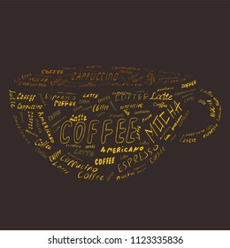 Vector illustration of Lettering Coffee text in shape of Coffee mug. Cappuccino, Americano, Mocha, Latte coffee kind text