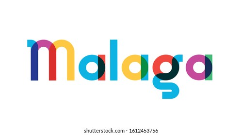 Vector illustration, lettering composition, Malaga Spanish city, calligraphy, handwritten lettering logo. Design for postcards, t-shirts, banners, greeting cards, mugs, stickers. EPS 10