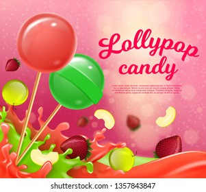 Vector Illustration Lettering Lollypop Candy. Multicolored Juicy Sweet and Savory Lollipops. Kind Medicinal Candy with Licorice, Eucalyptus and Menthol. Sticky and Hard Mass Sugar.