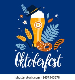 "Vector illustration with lettering ""Oktoberfest"", beer glass, Bavarian hat, pretzel, sausage and floral elements. Poster for traditional Munich festival of beer. Poster for deutsch october fest."