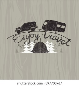 Vector illustration of lettering travel, typographic, typographic poster,  camp calligraphy, silhouette travel on wood background