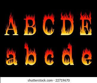 vector illustration of letters A to E in flames