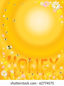 vector illustration of letters spelling out the word honey with honeycomb,bees and flowers as background in eps10 format