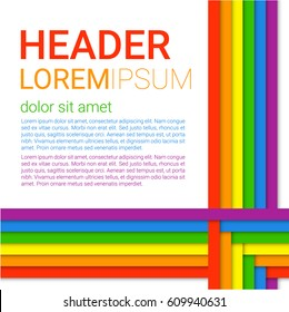 Vector illustration in LGBT colors. Symbol of peace, gay culture. Modern colorful rainbow background. Paper layers in a Material design style. Flyer, brochure, cover template for Pride Month.