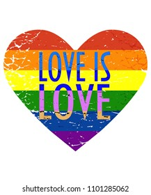 Vector illustration for LGBT community Pride month: Rainbow flag in a vintage distressed heart shape and text Love is Love.