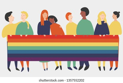 Vector illustration of lgbt people holding a rainbow flag. Banner with gay and lesbian couples with rainbow