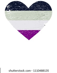 Vector illustration for LGBTQA community Pride month: Asexual flag in a distressed heart shape. Asexuality symbol.