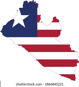vector illustration of Liberia map and flag