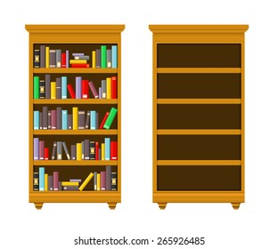 A vector illustration of a library bookshelf. Bookshelf. Full and empty book shelves.