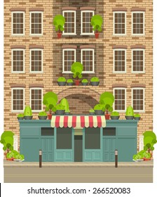 vector illustration of life in the city, the store is located in a residential building with  showcases