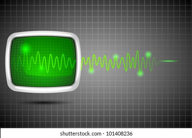 vector illustration of life line coming out of computer screen