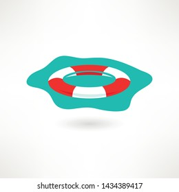 Vector  illustration of a lifebuoy floating on a surface. Red and white lifebuoy Emergency assistance to a customer concept.