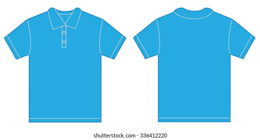 Vector illustration of light blue polo shirt, isolated front and back design template for men