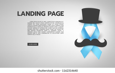 Vector illustration of light blue ribbon with mustache, hat and text. November - Prostate Cancer Awareness month. Men health awareness.