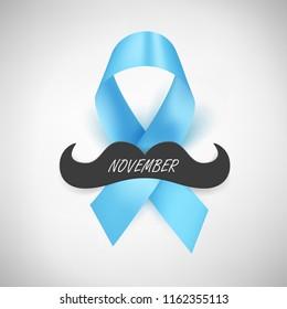 Vector illustration of light blue ribbon with mustache. November - Prostate Cancer Awareness month. Men health awareness.