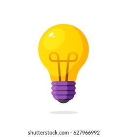 Vector illustration. Light bulb in flat style. Energy and idea symbol. Decoration for greeting cards, patches, prints for clothes, badges, posters