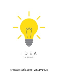 Vector illustration of  light bulb and idea concept symbol.