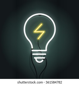 Vector illustration of light bulb and idea concept. Neon sign.