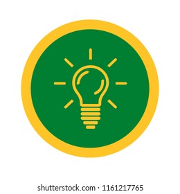 Vector illustration of light bulb or ideation  icon for graphic and web design.