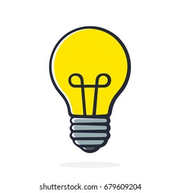 Vector illustration. Light bulb in pop art style. Cartoon with contour. Isolated on white background