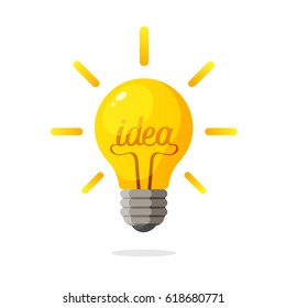 Vector illustration. Light bulb with the word of idea and rays shine. Decoration for greeting cards, prints for clothes, posters