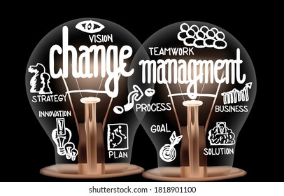 Vector Illustration of light bulbs with icons and shining fibers in a shape of Change Management, Goal, Innovation, Solution, Strategy and Vision concept related words isolated on black background