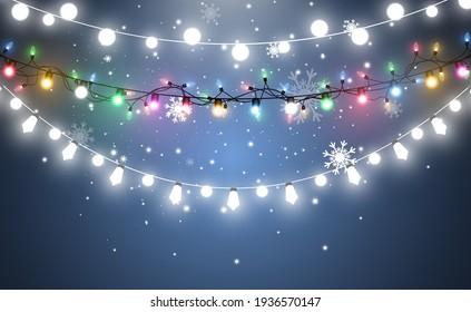 Vector illustration of a light garland on a transparent background.