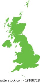 vector illustration of Light green map of United Kingdom