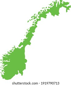 vector illustration of Light green map of Norway