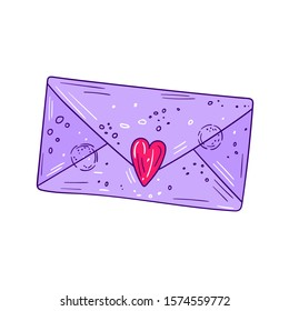 Vector illustration of a light purple letter envelope with heart and decorative elements - Hand drawn isolated object in romantic style on white background - Design for St Valentine's day