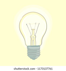 Vector illustration of lightbulb on light background