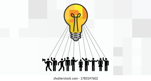 vector illustration of lightbulb and people connected to the same idea with ties