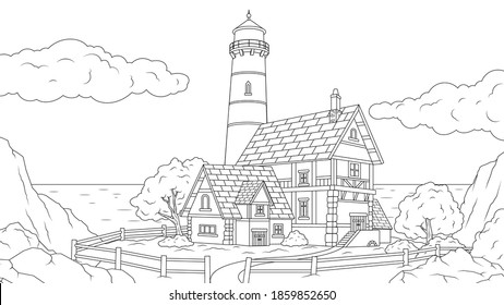 Vector illustration, lighthouse by the sea, vector illustration