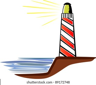 A vector illustration of a light-house on a white background.
