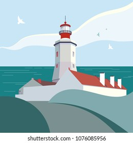 Vector illustration with lighthouse. Red and white graphic of nautical landscape. Vector cartoon illustration with beacon for web, postcard, poster, clothing print. Seashore minimalist illustration.