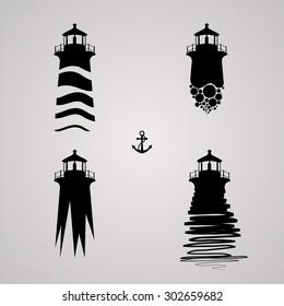 vector illustration of lighthouse set.